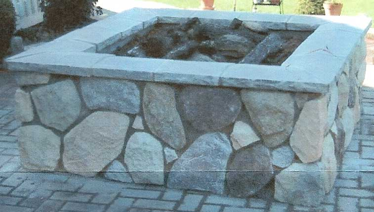 Square Firepit with Gas Logs