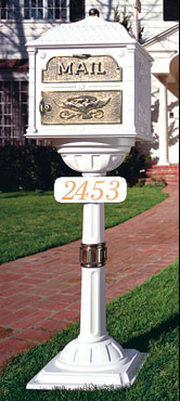 Gains Freestanding Mailbox in White