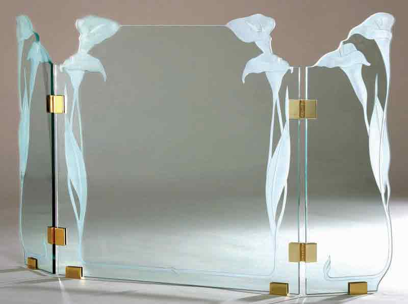 Stone MFG Freestanding Glass Screen 3G20 Calla Lily
