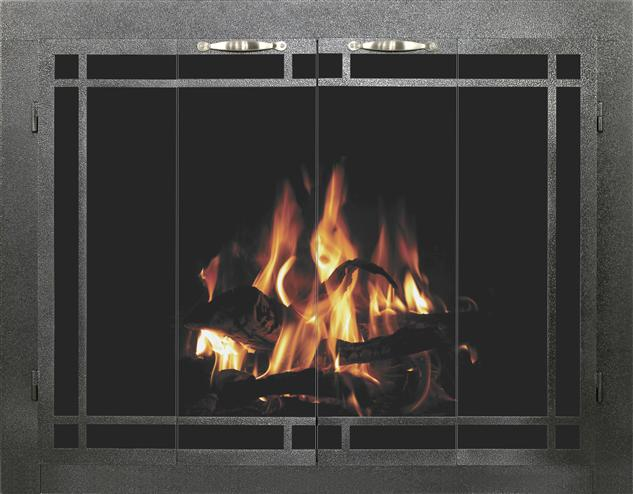 Stoll Fireplace Glass Door Bar Iron Columbia in Silver Vein with Window Pane Design