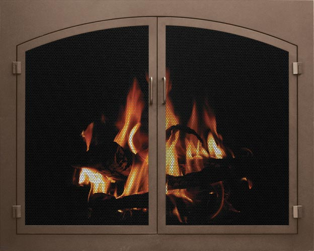 Stoll Fireplace Mesh Door in Bronzed Iron with Arch Conversion Inset Doors