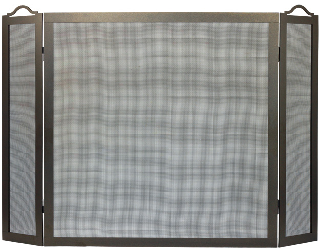 Stoll Fireplace Freestanding Screen ValuePlus Triple Panel in Bronzed Iron