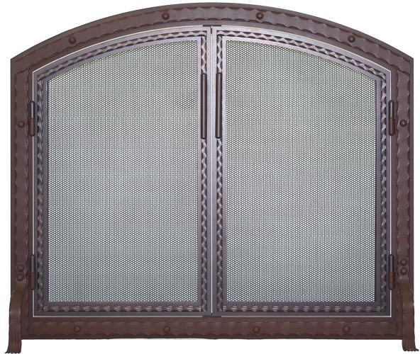 Stoll Fireplace Freestanding Screen Blacksmith Arch in Weathered Brown with Working Doors in Oil Rubbed Bronze