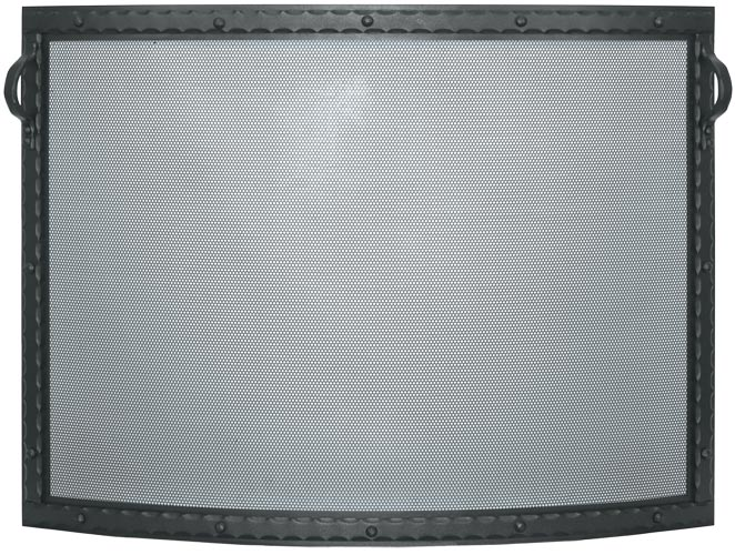 Stoll Fireplace Freestanding Screen Blacksmith Convex in Textured Black