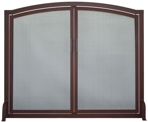 Stoll Fireplace Freestanding Screen Traditional Arch in Weathered Brown with Working Doors