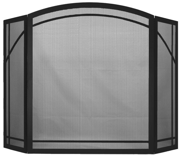 Stoll Fireplace Freestanding Screen Traditional Arch 3 Panel in Matte Black with Arch Window Pane Design